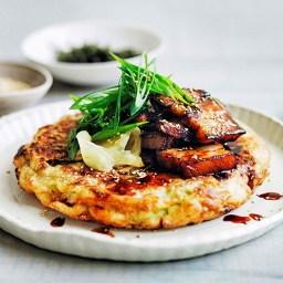 Okonomiyaki (shredded vegetable pancake) with crunchy vegetable salad