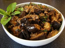 Thai spicy eggplant with basil